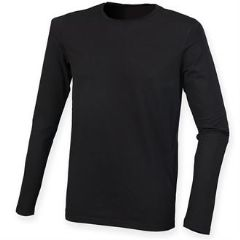 THURSO  HIGH SCHOOL FEEL GOOD BLACK LONG SLEEVED STRETCH T-SHIRT WITH LOGO